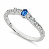 Sterling Silver Emerald Cut Blue Spinel CZ Ring