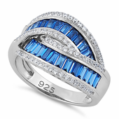 Sterling Silver Emerald Cut Blue Spinel Looping Band Ring