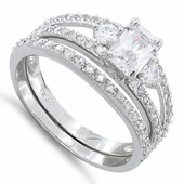 Sterling Silver Clear Cut CZ Wedding Set Ring