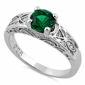 Sterling Silver Emerald Round Cut Engagement CZ Ring