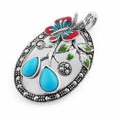 Sterling Silver Enamel Butterfly & Flowers Simulated Turquoise Marcasite Pendant