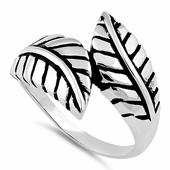 Sterling Silver End to End Leaf Ring