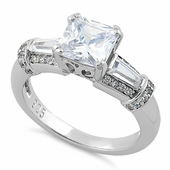 Sterling Silver Engagement Princess Cut CZ Ring