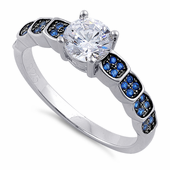Sterling Silver Engagement Round Cut Blue CZ Ring