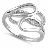 Sterling Silver Entangled Clear CZ Ring