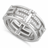 Sterling Silver Eternity Cross Pave CZ Ring