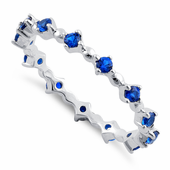 Sterling Silver Eternity Thin Blue Spinel CZ Ring