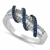 Sterling Silver Exotic Twisted Blue Spinel CZ Ring