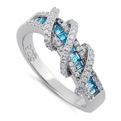 Sterling Silver Exotic Twisted Blue Topaz & Clear CZ Ring