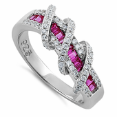 Sterling Silver Exotic Twisted Ruby & Clear CZ Ring