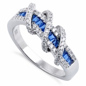 Sterling Silver Exotic Twisted Sapphire CZ Ring