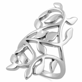 Sterling Silver Extravagant Leaves Ring