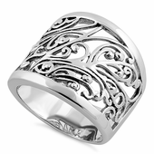 Sterling Silver Extravagant Vines Ring
