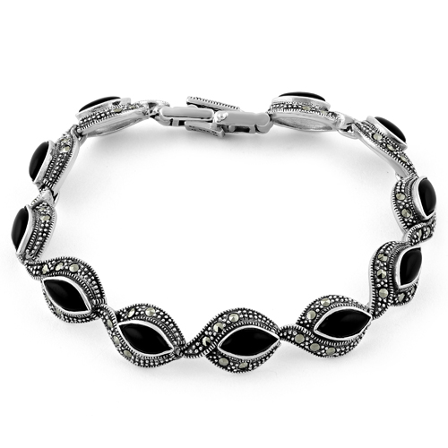bracelet sterling blain by designer fashion onyx silver blaine contemporary sara black jewelry