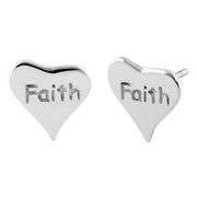 "Sterling Silver ""Faith"" Heart Earrings"