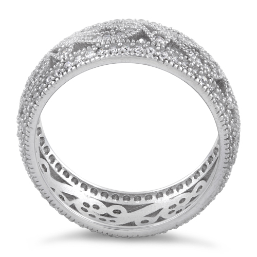 Sterling Silver Filigree CZ Ring for Sale Silver Rings Online