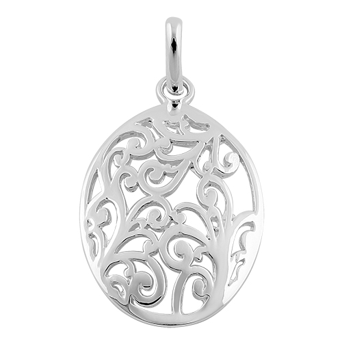 Sterling silver filigree oval pendant aloadofball Image collections