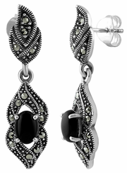 Sterling Silver Fire Oval Black Onyx Marcasite Earrings