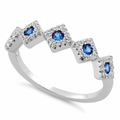 Sterling Silver Fiver Diamond Shape Blue Spinel CZ Ring