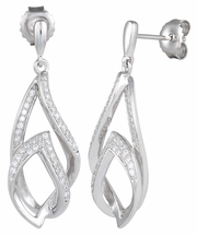 Sterling Silver Flames CZ Dangle Earrings