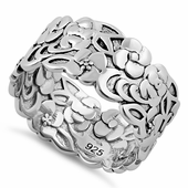 Sterling Silver Floral Band Ring