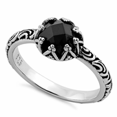 Sterling Silver Floral Black CZ Ring