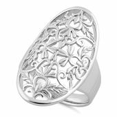 Sterling Silver Floral Garden Oval Ring