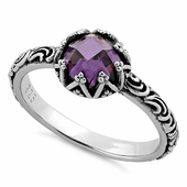 Sterling Silver Floral Purple CZ Ring