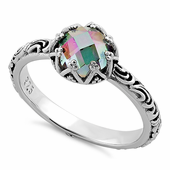 Sterling Silver Floral Rainbow Topaz CZ Ring
