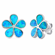 Sterling Silver Flower Blue Lab Opal Stud Earrings