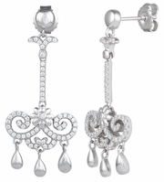 Sterling Silver Flower Chandelier CZ Dangle Earrings