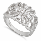 Sterling Silver Flower Cross Pave CZ Ring