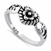 Sterling Silver Flower Heart Ring