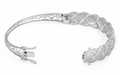 Sterling Silver Flower Pave CZ Bangle Bracelet