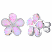 Sterling Silver Flower Pink Lab Opal Stud Earrings