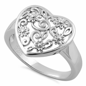 Sterling Silver Flower Vine Heart Ring