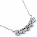 Sterling Silver Flowers CZ Necklace