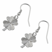 Sterling Silver Four Leaf Clover Charm Hook Earrings
