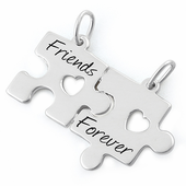 "Sterling Silver ""Friend Forever"" Jigsaw Puzzle Pendant"