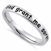 """Sterling Silver """"God grant me serenity, wisdom, & courage"""" Ring"""