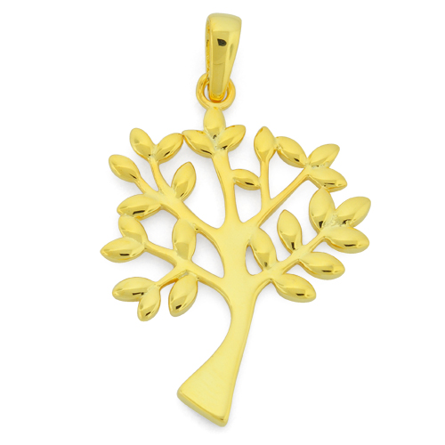 Sterling silver gold plated tree of life pendant aloadofball Image collections