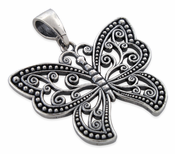 Sterling Silver Gothic Butterfly Pendant