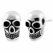 Sterling Silver Grinning Skull Earrings