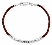 Sterling Silver Half Beads Brown Silk Rope Bracelet