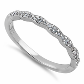 Sterling Silver Half Eternity Clear Round CZ Engagement Band
