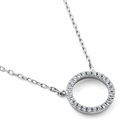 Sterling Silver Halo CZ Necklace