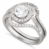 Sterling Silver Halo Round Pave CZ Set Ring
