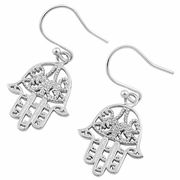 Sterling Silver Hamsa Hook Earrings
