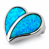 Sterling Silver Heart Blue Lab Opal Pendant