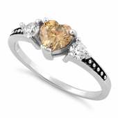 Sterling Silver Heart Champagne CZ Ring